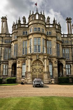 U.K. Burghley house main entrance, Elizabethan treasure from XVI century, Cambridgeshire, England
