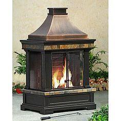 Sunjoy Brownston Steel Wood Burning Outdoor fireplace