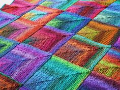 mitred squares knitted blanket