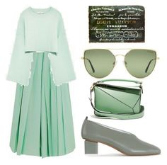 """""""green day"""" by peeweevaaz ❤ liked on Polyvore featuring Loewe, Oliver Gal Artist Co., outfit, polyvoreeditorial and polyvorefashion"""