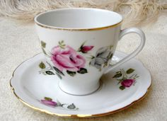 Vintage Polish rose teacup & saucer set from the 1940s - Cmielow porcelain, Made in Poland