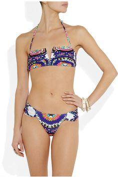 Mara Hoffman|Pow Wow printed bandeau bikini|NET-A-PORTER.COM