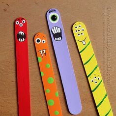Make adorable craft stick monsters from jumbo craft sticks and paint! Perfect for back to school bookmarks or just a fun monster craft or Ha...