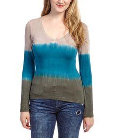 Look at this #zulilyfind! Taupe & Turquoise Tie-Dye V-Neck Top - Women by Mimigi #zulilyfinds