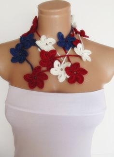 hand crocheted floral scarf lariat red white blue by smilingpoet, $21.90