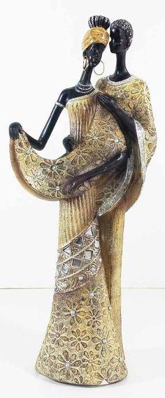 New - Masai African Couple In Gold Dress Figurine 34cm Statue Ornament in Home, Furniture & DIY, Home Decor, Decorative Ornaments & Figures | eBay