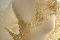 luxury gold alencon lace trim  vintage style by lacetime on Etsy