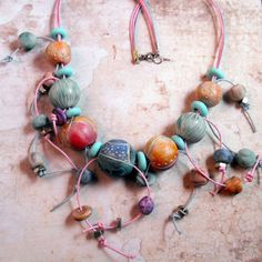 Fanciful Artisan Polymer Clay Necklace  Pastels door MargitBoehmer, $48.00
