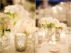 Les, obviously this is super pretty... so here's your challenge: white and ivory linens, white/ivory flowers, mercury glass, vase o' shells (or just shells). Go! Tablescape