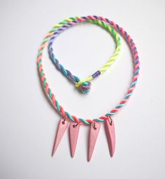 Multicoloured fluro bright silk knot necklace with pink coconut triangle beads