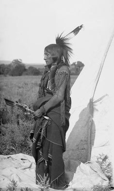 An old photograph of Eagle Tail Feather aka - Quassyah - Comanche 1891.