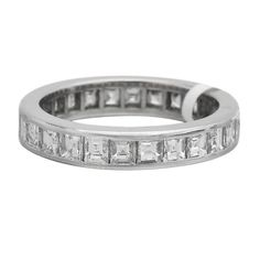 Trendy Diamond Rings :    Square Cut Diamond Platinum Eternity Band Ring | From a unique collection of vintage wedding rings at www.1stdibs.com/…  - #Rings https://youfashion.net/wedding/rings/diamond-rings-square-cut-diamond-platinum-eternity-band-ring-from-a-unique-collection-of-vin/