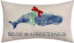 Coastal Decor, Beach, Nautical Decor, DIY Decorating, Crafts, Shopping | Completely Coastal Blog: Celebratory Coastal & Nautical Christmas Pillows