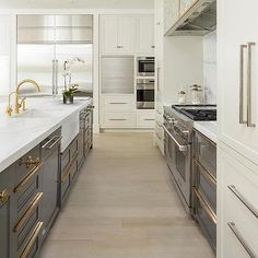 Ivory and Gray Kitchen with Cooking Alcove