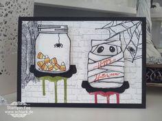 stampin halloween Card Set Jar of hounts Karte mummy mumie Spider spinne Vorratsglas Glas