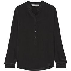 Stella McCartney Eva silk crepe de chine blouse ($595) via Polyvore featuring tops, blouses, black, black silk blouse, collarless blouse, silk top, stella mccartney and black blouse