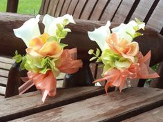 Beach / Destination / Tropical Coral / Ivory / Lime Real Touch Silk Calla Lily Pin On Corsage For Weddings or Prom