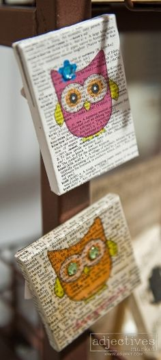 Handmade owl magnets by Love from Jeanne at Adjectives Market