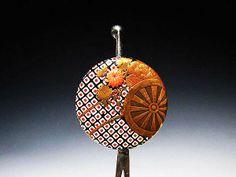 蒔絵螺鈿珊瑚花車簪 - 明治期