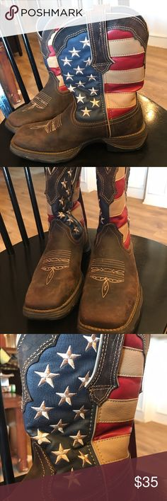 American flag Durango cowgirl boots These boots have some signs of wear (pics included) but are in fairly decent condition! Size 7.5 Durango Shoes