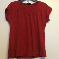 Cute shirt by Jones New York Sport Dark red. Short sleeve. Gathered around neck and at sleeves. Adorable! Worn 1x! Jones New York Tops