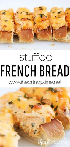 Stuffed French bread is a loaded bread appetizer or dinner that's so full of cheesy goodness. It's an easier version of my stuffed cheesy garlic bread but with a buffalo chicken twist!