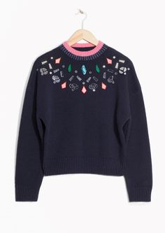 & Other Stories image 2 of Stone Embellished Sweater in Blue