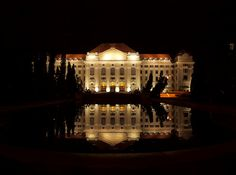 University of Debrecen at night (Tiboo's Photography) Czech Republic, Hungary, Places Ive Been, Maine, University, Stock Photos, Explore, Mansions, Dark