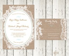Romantic Lace and Burlap Wedding Invitation, Custom Colors! on Etsy, $2.14 CAD