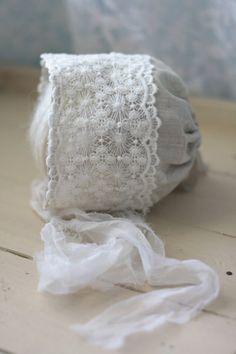 Newborn Linen Lace Fabric Bonnet - Newborn Photography Prop on Etsy, $24.00 #newborn #newbornprops #newbornphotographyprops