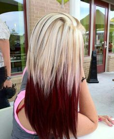 Blonde to dark red with black accents. Love it.
