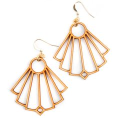 Fan Laser Cut Wood Earrings, Art Deco, Modern