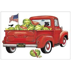 Charm your guests in the kitchen with a fabulous vintage look flour sack dish towel. A lovely red watermelon summer vintage truck by Mary Lake Thompson. Farm Trucks, Old Trucks, Pickup Trucks, Watermelon Farming, Watermelon Patch, Vintage Clipart, Truck Crafts, Tractor Crafts, Red Truck Decor