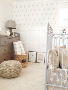 "Nursery with ""Seeing Stars"" Vinyl Wall Sticker Decal Art - urbanwalls on Etsy ($34.50 for 50 stars) but also love the crib, carpet, pouff, dresser, everything else"