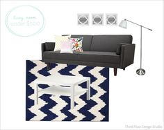 6th Street Design School | Kirsten Krason Interiors : Living Room under $500 with sources
