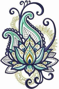 Bordado - embroidery designs рисунок узора мандала, узоры рисунков х Machine Embroidery Patterns, Embroidery Patches, Simple Embroidery, Hand Embroidery, Paisley Embroidery, Embroidery Tattoo, Embroidery Ideas, Henna Tattoo Muster, Diy Embroidery For Beginners