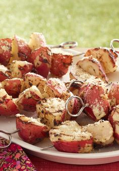 Easy Potato Skewers -- Some pre-grill time in the microwave makes this side dish recipe pretty quick to make too. Sprinkle with Parmesan when they're hot off the grill.