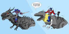 Transformers 4 - Optimus Prime Riding Grimlock via rawlsy on deviantART