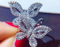 Gem Select Crafts Butterfly Diamond Rings in White Gold Gold Diamond Rings, Diamond Gemstone, Gold Rings, Wire Jewelry, Gemstone Jewelry, Jewellery, Jewelry Collection, Jewelry Design, Jewelry Making