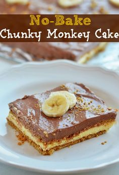 No-Bake Chunky Monkey Cake recipe from The Country Cook. A layered dessert that is so simple to make but so flippin' delicious!!