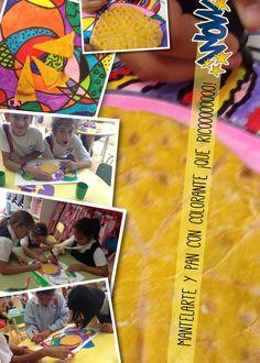 Pan con colorante y manteles multicolores