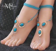 Silver Turquoise Orange Barefoot Sandals by MelekDesigns on Etsy