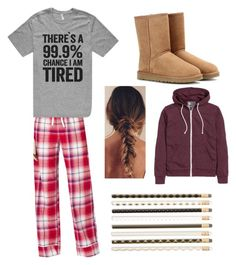 """""""My school has pajama day on Wednesday (read d)"""" by ll1021 ❤ liked on Polyvore featuring Soma, UGG Australia and Chronicle Books"""