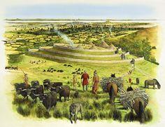 Artistic reconstruction of White Castle hillfort by David Simon. Fantasy World, Fantasy Art, Celtic Warriors, Iron Age, Prehistory, Britain, Castle, Illustration, Europe