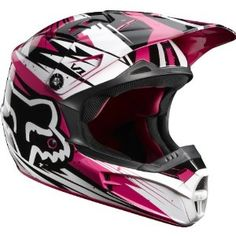 Fox Racing V1 Undertow Helmet Green Blue Pink 2012 Motorcycle Atv