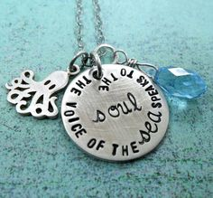 "Kate Chopin quote ""The voice of the sea speaks to the soul"" on a sterling silver charm (by SarahFewell on Etsy)."