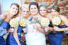 matching paper flower bouquets for all the bridesmaids - thereddirtbride.com - see more of this wedding here Flower Bouquets, Wedding Bouquets, Bridesmaids, Bridesmaid Dresses, Dress Making, Paper Flowers, Rustic Wedding, Blue And White, Pop