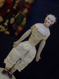 Lovely Antique Kestner China Doll w RARE Smiling Mouth Civil War Era Cloth Body | eBay