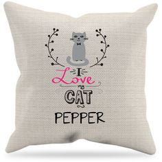 "Personalized ""I love my cat"" pillowcase Cat Gifts, Cat Lover Gifts, Cat Lovers, Personalized Shirts, Animal Jewelry, Sloth, Pillow Cases, Cute Animals, Throw Pillows"