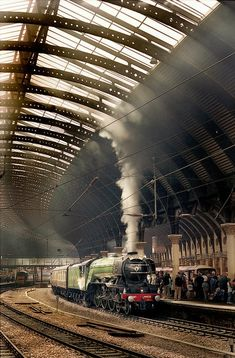 "4472 ""Flying Scotsman"" waits to leave York for Scarborough. Electric Locomotive, Steam Locomotive, Steam Trains Uk, Flying Scotsman, Rail Transport, Steam Railway, Bonde, Train Art, British Rail"